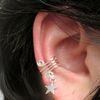 Ear Cuff, Ear Wrap, Simple Ear Cuff, Star Charm, Helix Accessory, Cartilage Earring, No Pierce Jewelry, Helix Cuff, Cartilage Cuff