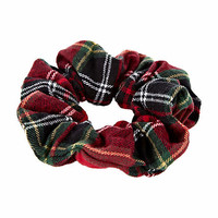 Red tartan scrunchy hair band