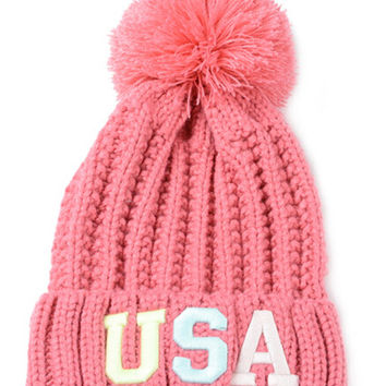 Pink Neon Letter Embroidery Ball Top Knitted Beanie