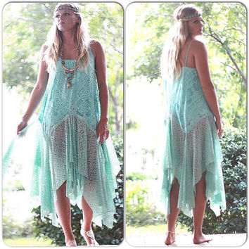 Turquoise Gypsy dress, Wanderlust, Bohemian Magnolia lace Pearl, Boho dresses Stevie Nicks Style, Festival clothing True Rebel clothing M