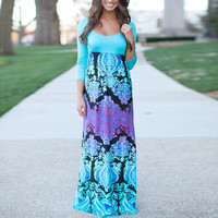 Aqua Floral Print Scoop Neck Splice Empire Maxi Dress