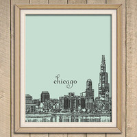 Love for Chicago - Black Illustration on Colored Background - Art Print - 8 x 10 Wall Decor