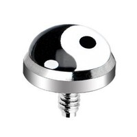Body Candy Stainless Steel Yin Yang Logo Dermal Anchor Top