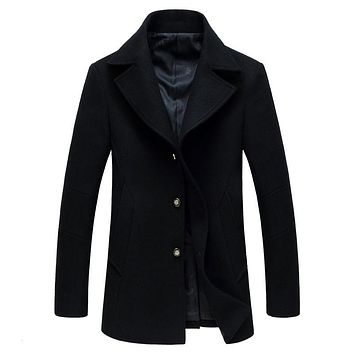New Arrival Autumn/Winter Men Thicker Warm Trench coat Overcoat England Stylish Solid Jaqueta MasculinasMen Wool Peacoat Jacket