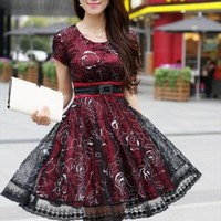 Black red office lady elegant summer dress sale l095 from YRB