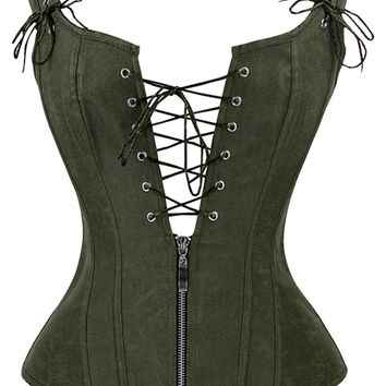 Atomic Olive Green Steam Vest Overbust Corset