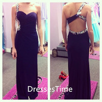 Purple backless one shoulder chiffon prom dress / evening dress / long party dress / long evening dress