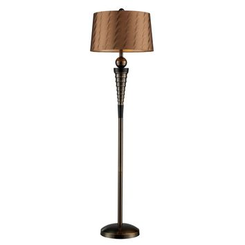 Laurie Floor Lamp In Dunbrook Finish With Bronze Tone-on-Tone Shade Dunbrook Bronze,Dark Wood