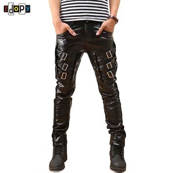Gothic Punk Fashion Faux Leather Pants PU Buckles Hip Hop Applique Black   Leather Trousers Male