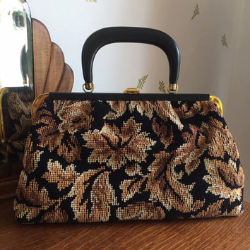 1960's JR Carpet Bag / Top Handle Purse / Leaf Motif / Chenille Handbag / Vintage 60s