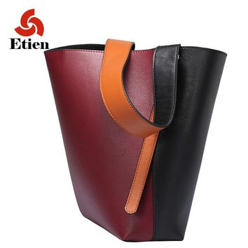 Genuine leather bucket big bag women ladies leather luxury women's handbags leather women bags designer high quality fashion sac