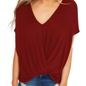 Chicloth Red Draped Front Knot Top