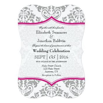 Hot Pink Gray Damask Bracket Wedding Invite