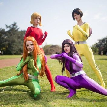 Sexy Women/Lady/Girls/Female Totally Spies Base Suit Lycra Spandex Jump Suit Superhero Zentai Catsuits Cosplay Costume 5 Color