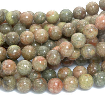 fall color Autumn jasper beads - pink and green Chinese unakite beads - colorful gemstones for jewelry making - 4-14mm round beads -15inch