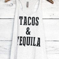 Tacos and Tequila Tank Top Racerback in Heather White