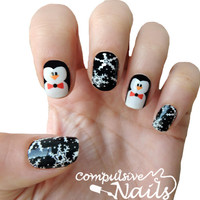 Penguin Party nail polish strips. Winter Nail decals Nail wraps.