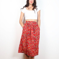 Vintage Midi Skirt 1980s Skirt Red Yellow Black Circle Dot Geometric Print Knee Length Skirt 80s Skirt Pockets High Waisted Tea Preppy XS S