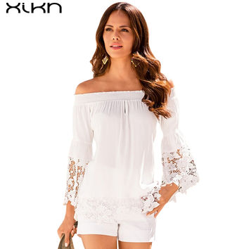 Women White Lace Off shoulder Blouse 2016 Autumn Chiffon Blouses and Shirts Long Sleeve remeras mujer Casual Tops Blusas AG121