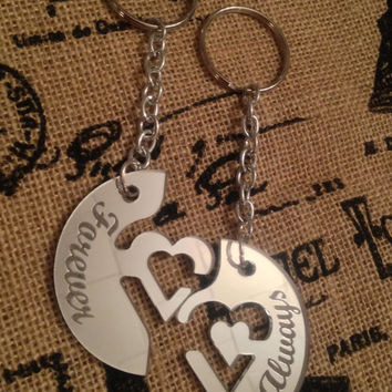 Laser Cut Mirrored Interlocking Heart Key Chain  FREE SHIPPING