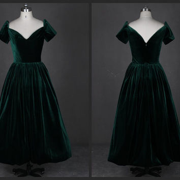 1920S Evening Gown Vintage with Short Sleeves Ankle Length Velvet Open Back Dark Green