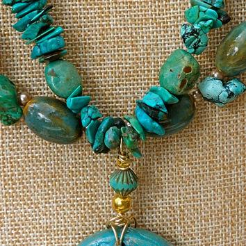 Artisan Turquoise Bee Pendant Necklace, stone, statement, clay, Czech glass, ceramic, gold plated, gold, beaded, blue, Christmas, gift,
