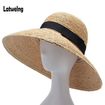 2018 New Raffia Women Straw Summer Sun Hats For Ladies Beach Hat Fashion Handmade Large Wide Brim Bucket Visor Caps Gift