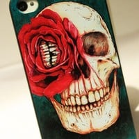 Cool Red Flower Skull Hard Cover Case For Iphone 4/4s/5