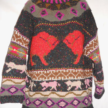 Vintage 80s Forenza Brand Geometric Wild Ugly Sweater Thic Wool Acrylic Size Medium