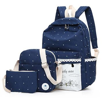 Canvas windmill Printing Backpack Set School Bags For Teenage Girls High Quality Women Lace Rucksack Travel bag Fashion Mochila