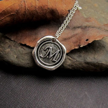Men Monogrammed Necklace, Unisex  Personalized Jewelry, Custom Initial Necklace, Wax Seal Necklace, antique Silver, Sterling Silver Chain
