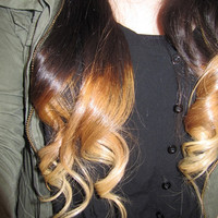FULL SET - clip in deluxe ombre hair extensions - dark blonde to light blonde  - made from remy hair - 20 inches long