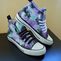 Custom hand made cosmic galaxy canvas hi top trainers(similar to Converse  style) Lilac bdaedf602