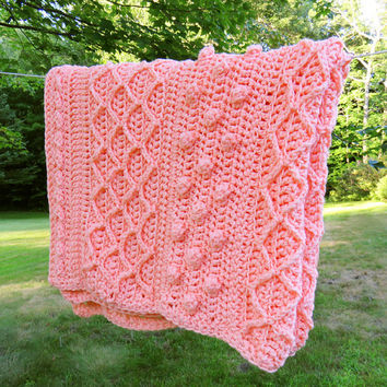 Orange orange-sorbet peachy-orange crochet afghan blanket throw - Vintage orangey afghan 90 x 56 in