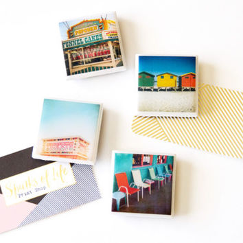 Photo magnets, colorful magnets, vintage photography, retro magnets, gifts under 20, magnet set, refrigerator magnets, gifts for co-workers