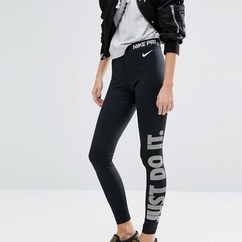 Nike Just Do It Leggings With Logo Waistband In Black