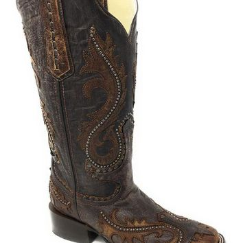 ONETOW Corral Women's Brown Overlay and Studs Square Toe Boots G1349