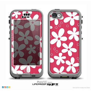 The Hanging White Vector Floral Over Red Skin for the iPhone 5c nüüd LifeProof Case
