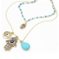 New Design Fashion Charms Blue Evil Eye Hamsa Hand Necklace Vintage Bead Turquoise Necklaces&Pendants Women Fine Jewelry A020