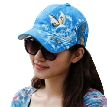 ESBG8W Summer Women Lady Flowers Butterfly Embroidered Golf Hat Adjustable Baseball Cap