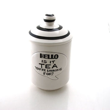Lionel Richie Hello is it tea kitchen housewares teabag container, cannister, kitchen storage, ceramic tea holder