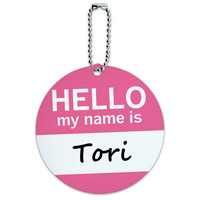 Tori Hello My Name Is Round ID Card Luggage Tag