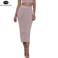 Good Quality Skirts Womens High Waist Suede Skirts Midi Winter Long Skirt Spring Back Slit Pencil Skirt Stretchy Saia