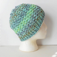 Crochet Skullcap Beanie Hat in Mint Medley, ready to ship.