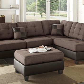 3 pc martinique ii collection two tone chocolate fabric and faux leather upholstered sectional sofa with reversible chaise and ottoman