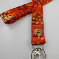 Orange Lanyard Orange Tie Dye Lanyard Orange Key Holder Speckled Key Chain Orange Tie Dye Necklace Tie Dye Orange ID Badge Holder