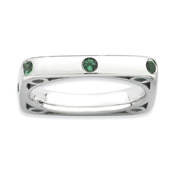 Sterling Silver Stackable Expressions Polished Simulated Emerald Square Ring