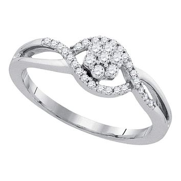 10kt White Gold Women's Round Diamond Flower Cluster Twist Swirl Ring 1/4 Cttw - FREE Shipping (US/CAN)