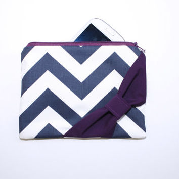 Zipper Pouch / Cosmetic Case - Navy and White Chevron Plum Purple Bow - Choice of Center or Side Bow