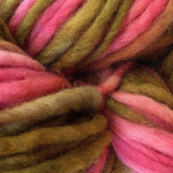 Bulky / Chunky Weight Hand Painted Wool Yarn Pencil Roving in Prickly Pear 60 yards